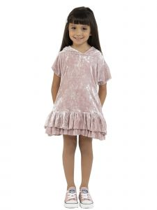 Kids Dream Little Girls Rose Velvet Ruffle Hooded Back To School Dress 2-6