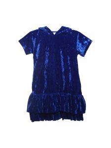 Kids Dream Little Girls Royal Blue Velvet Hooded Back To School Dress 2-6