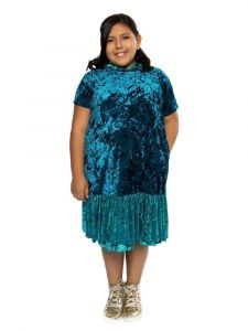 Kids Dream Big Girls Teal Velvet Back To School Plus Size Dress 14.5-18.5