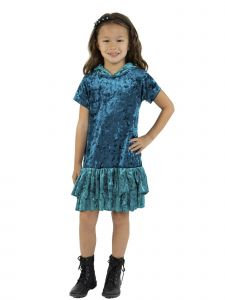 Kids Dream Big Girls Teal Velvet Ruffle Hooded Back To School Dress 8-12
