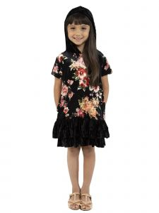 Kids Dream Little Girls Black Red Velvet Floral Back To School Dress 2-6