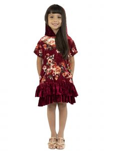 Kids Dream Big Girls Burgundy Velvet Floral Back To School Dress 8-12