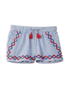 Azul Big Girls Blue Embroidered Tassel Adorned Strike A Pose Shorts 8-14