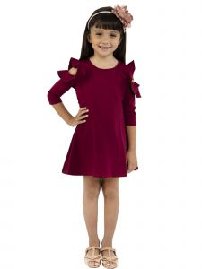 Kids Dream Little Girls Burgundy Cold Shoulder Ruffle Back To School Dress 4-6
