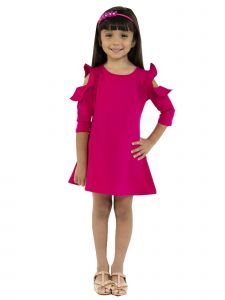 Kids Dream Little Girls Fuchsia Cold Shoulder Ruffle Back To School Dress 4-6