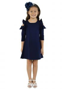 Kids Dream Little Girls Navy Cold Shoulder Ruffle Back To School Dress 4-6