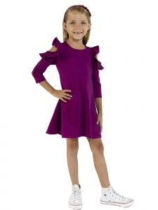 Kids Dream Little Girls Mulberry Purple Cold Shoulder Back To School Dress 4-6