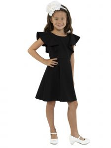 Kids Dream Big Girls Black Princess Line Ruffle Back To School Dress 8-12