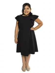 Kids Dream Big Girls Black Princess Line Ruffle Plus Size Dress 14.5-18.5