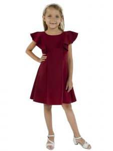 Kids Dream Little Girls Burgundy Princess Line Ruffle Back To School Dress 2-6