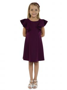Kids Dream Big Girls Eggplant Princess Line Ruffle Back To School Dress 8-12