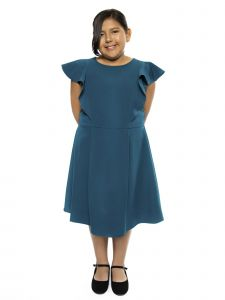 Kids Dream Big Girls Teal Princess Line Ruffle Plus Size Dress 14.5-18.5