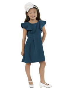 Kids Dream Big Girls Teal Princess Line Ruffle Back To School Dress 8-12