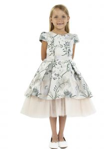 Kids Dream Big Girls Champagne Brocade High-Low Cap Sleeve Christmas Dress 8-14