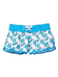 Azul Little Girls White Aqua Turtle Hawaii Print Elastic Band Swim Shorts 2-6