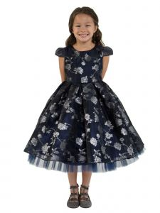 Kids Dream Big Girls Navy Rose Organza Jacquard Tulle Christmas Dress 8-14