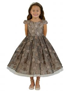 Kids Dream Little Girls Chocolate Rose Organza Jacquard Christmas Dress 4-6