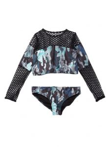 Azul Big Girls Green Black G. I. Jane Long Sleeve Rash Guard Bikini Set 6-16