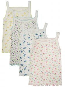 Girls White Printed 4 Pack Cotton Camisole Undershirt Strap Tank Top 3T-12