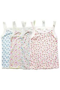 Big Girls Multi Color Floral Print Curly Hem Soft 4 Pc Tank Top Set 8-12