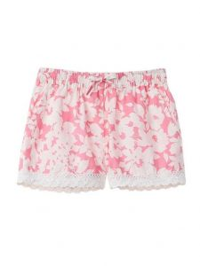 Azul Big Girls Pink Floral Notes Lace Detailed Drawstring Shorts 8-14