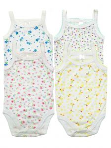 Baby Girls Printed 4 Pack Cotton Camisole Bodysuit Sleeveless Set Romper 3-24M