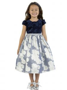 Kids Dream Little Girls Navy Velvet Metallic Print Jacquard Christmas Dress 2-6