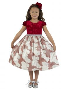 Kids Dream Little Girls Red Velvet Metallic Print Jacquard Christmas Dress 2-6