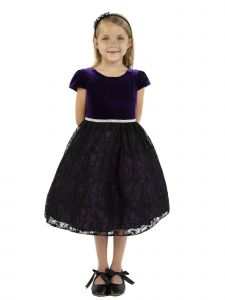 Kids Dream Big Girls Eggplant Velvet Lace Rhinestone Trim Christmas Dress 8-12