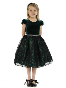 Kids Dream Little Girls Hunter Green Velvet Lace Rhinestone Christmas Dress 2-6