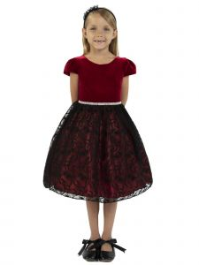 Kids Dream Little Girls Red Velvet Lace Rhinestone Trim Christmas Dress 2-6