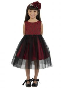 Kids Dream Little Girls Red Black Floral Jacquard Illusion Christmas Dress 2-6