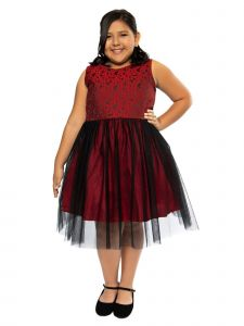Kids Dream Big Girls Red Black Jacquard Illusion Plus Size Dress 14.5-20.5