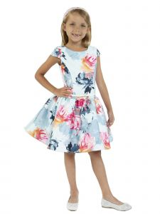 Kids Dream Big Girls Baby Blue Floral Mikado Junior Bridesmaid Dress 8-14