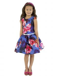 Kids Dream Big Girls Royal Blue Floral Mikado Junior Bridesmaid Dress 8-14