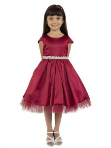 Kids Dream Big Girls Burgundy Satin Rhinestone Trim Christmas Dress 8-14