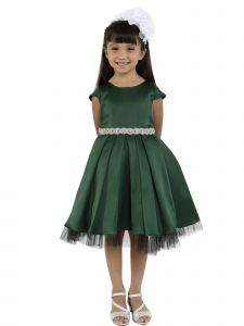 Kids Dream Little Girls Hunter Green Satin Rhinestone Trim Christmas Dress 4-6