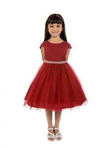 Kids Dream Big Girls Red Satin Tulle Rhinestone Christmas Dress 8-14