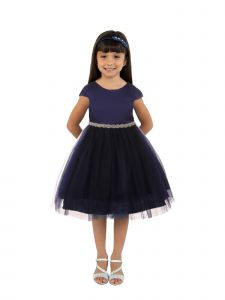 Kids Dream Big Girls Navy Satin Tulle Rhinestone Christmas Dress 8-14