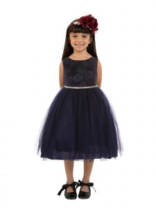 Kids Dream Big Girls Navy Velvet Tulle Rhinestone Christmas Dress 8-14