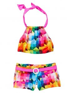 Azul Little Girls Pink Multi Diamond Generation Y Shorts 2 Pc Swimsuit 4-6
