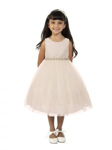 Kids Dream Little Girls Off-White Lace Tulle Rhinestone Flower Girl Dress 2-6
