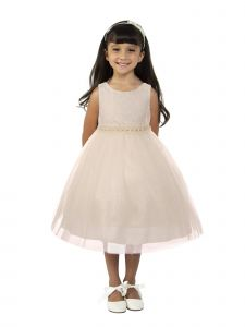 Big Girls Off-White Lace Tulle Pearl Trim Junior Bridesmaid Dress 8-12