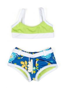 Azul Little Girls Green Multi Color Nod To Mod Bandeau Short Set 2T