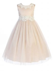 Kids Dream Big Girls Peachy Blush Pearl Adorned Junior Bridesmaid Dress 8-14