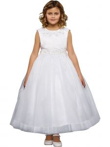 Kids Dream Big Girls White Pearl 3D Floral Applique Communion Dress 14