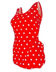 Deep Blue Womens Red White Dot Front Sarong One Piece Plus Size Swimsuit 1X-7X