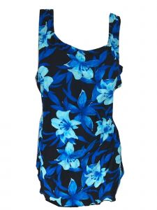 Deep Blue Women's Blue Ultramarine Floral One Piece Front Sarong Swimsuit 16-26