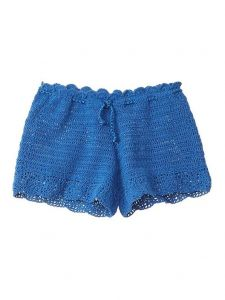 Azul Little Girls Blue Hand Crochet Functional Drawstring Moondance Shorts 6/7