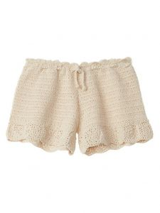 Azul Big Girls Ivory Hand Crochet Functional Drawstring Moondance Shorts 8-14